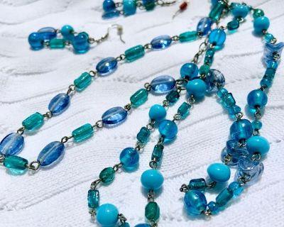 "($5 SALE) 18""  3-Strand Multi-Bead Necklace & Earring Set"