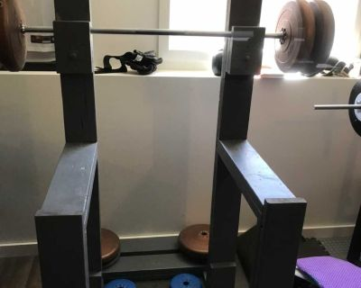 Homemade squat rack with 160lbs of weight and bar