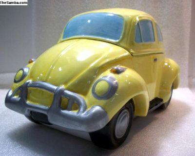 Ceramic Cookie Jar Yellow Beetle