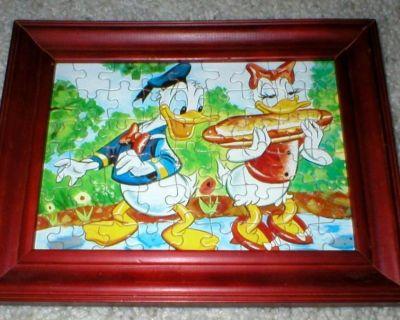 Vintage Walt Disney Donald Duck & Daisy Framed Puzzle - Sub Sandwich