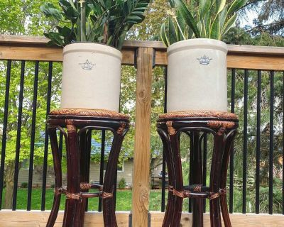 Wicker plant stands or bar height stools EUC