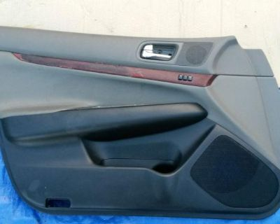 07 08 09 10 11 12 G35 G37 G 35 37 Left Front Door Panel Black And Tan With Wood
