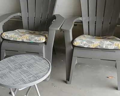 Gray patio set two chairs with cushion and table 100