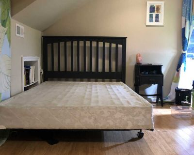 Painted Queen Headboard, bed frame, boxspring and nightstand