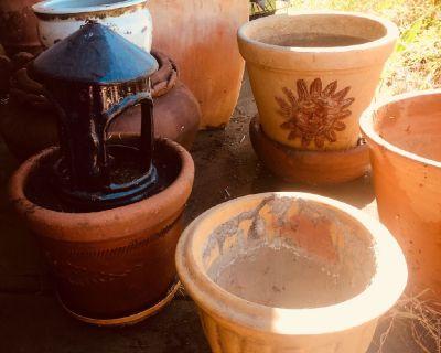 Beautiful terra cotta planters-garden art