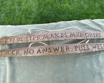 Whiskey barrel stave signs