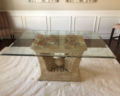 Beveled Glass Pedestal Table