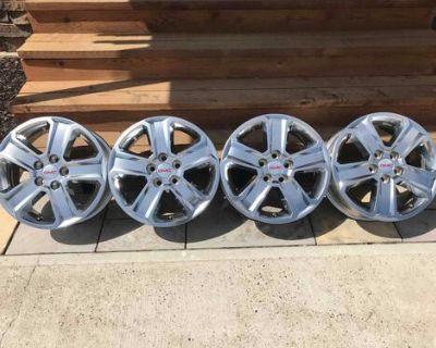 18 Beautiful Original GMC Factory Chrome Clad 5 lug Alloy Rims/Wheels!