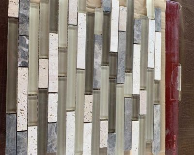 Glass in stone fusion tile
