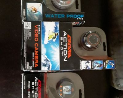 Go Pro Video Camera, Action Shot, Waterproof. Brand new in boxes. 3 items total.