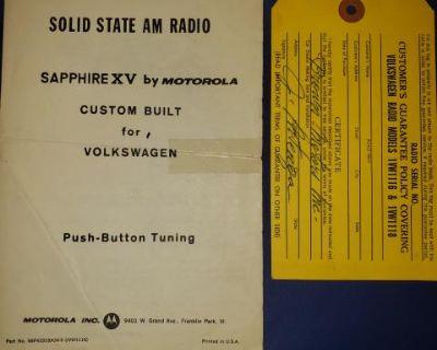 Sapphire XV Owner's Manual & Guarantee Tag