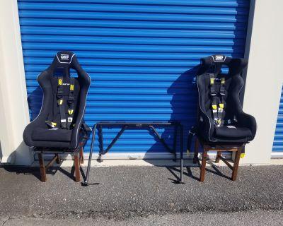 *NEW* Full 996, 997, 987 OMP Racing Seat & Harness Set Up on sliders w/Brey-Krause