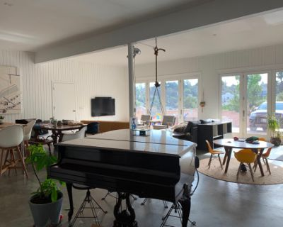 Light-flooded, Panoramic View Hillside Home and Open Studio with Expansive Driveway + Redwood Terrace, Los Angeles, CA