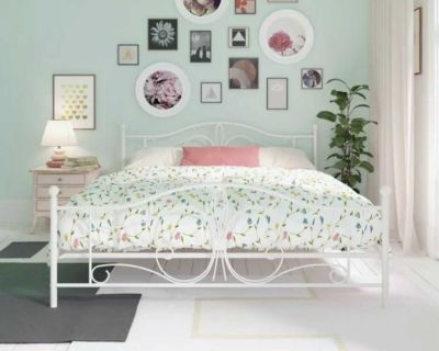 Queen White Metal Bed Frame with Lucid Queen Mattress