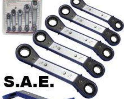 5pc Offset Ratchet Box Wrench Set Sae Automotive Shop Diy Wholesale Auto Tools