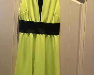 Front & back of lime green with black trim or elastic