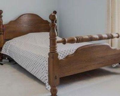 Solid oak queen bed frame