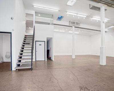 Creative Studio Gallery Space with Mezzanine Office, Los Angeles, CA