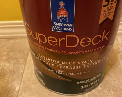 Full unused can of deck/fence stain