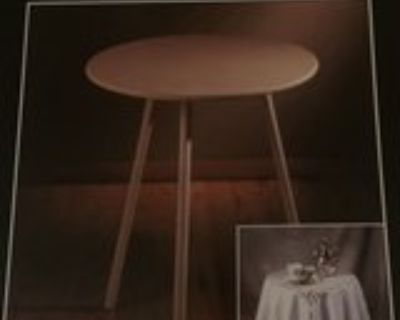 tables wood with glass & skirt