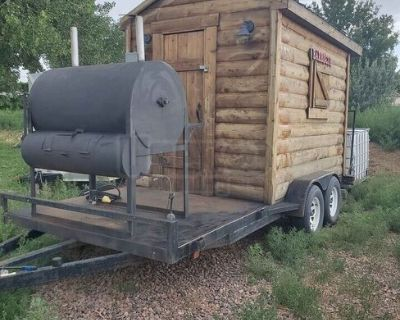 Log Cabin Barbecue Concession Trailer / Up to Code Mobile BBQ Unit