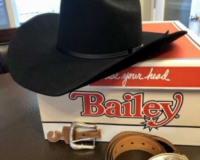 Bailey hat and Ariat belt with two buckles
