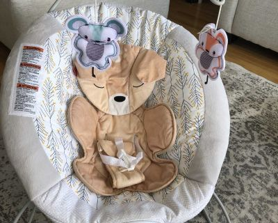 Fisher Price Deluxe baby Bouncer chair Fawn Meadows EUC