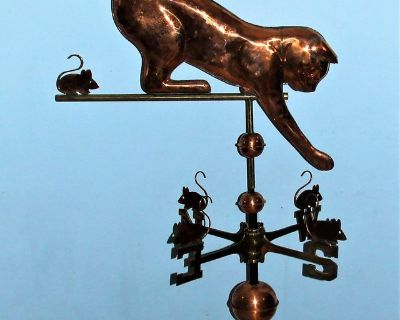 Large Cat & Mice Weathervane ~ Polished Copper / Roof Mount ~ Unused by East Coast Weathervanes