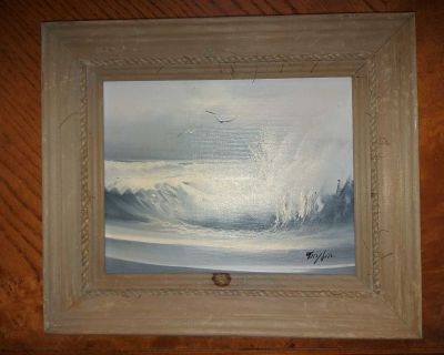 """Small 8"""" by 10"""" vintage oil on board Seascape painting, signed / framed (has a stain on the frame)"""