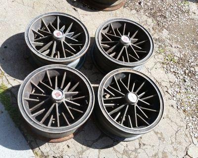 4 Kelsey Hayes Strippers drag gasser vintage rims wheels FORD DODGE 5 4-1/2 RARE