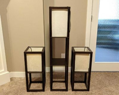 """Set of 3 Lamps - 1 Floor Lamp with Shelf (10""""x10""""x48"""") & 2 Table Lamps (10""""x10""""x24"""") with On/Off Switches on Cords"""