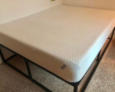 Queen Tuft & Needle mattress + metal bed frame (storage friendly)