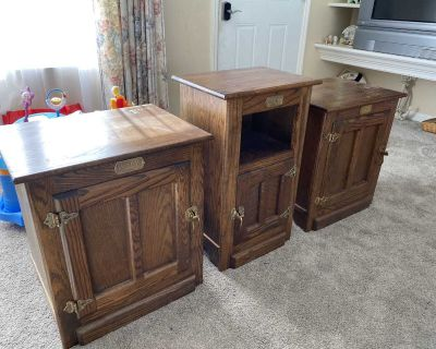 White Clad solid oak nightstands end tables