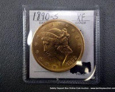 TWENTY DOLLAR GOLD COIN-1890-S XF