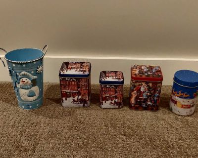 5 Christmas Decorative Gift Storage Containers (Metal)