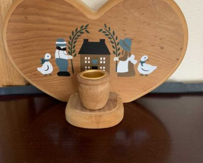 Wood decor with candle holder