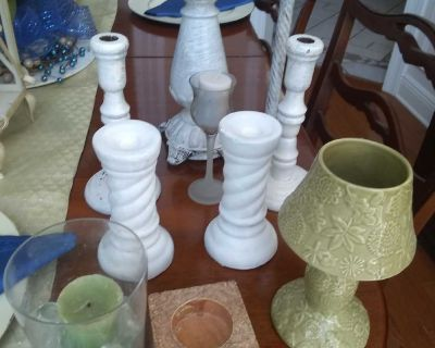 Bundle of candle holders.distressed ones, glass one, and new Hallmark tealight