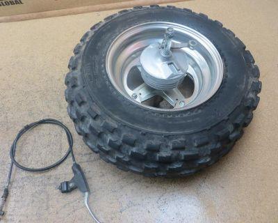 1985 85 Yamaha Big Wheel Bw200 Bw 200 Front Wheel Rim Tire Axle Hub Brake Drum