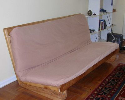 One pine wood FUTON + mattress + covers