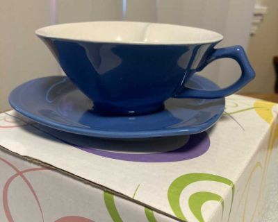 Blue Heart-Shaped Demi Cup & Saucer by Mary Kay in Gift Box