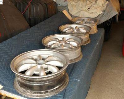 Vintage Empi 4 Lug 5 1/2 x 15 Painted Silver Rims