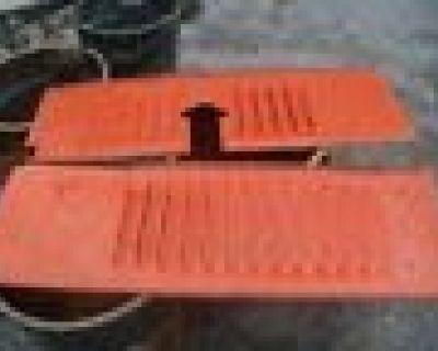 Stolen orange engins side panel Allis chalmers crawler from fastenal hub in Jessup