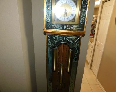 Very nice furniture with grandmother clock, clothing, leather sectional sofa, patio furniture
