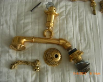 GOLD over brass hand held shower head and bracket PHYLRICH