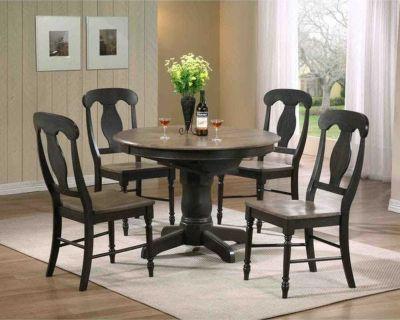 Iconic Furniture Company Antique Grey Napoleon Round Dining Set