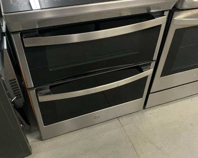 """GE Profile Stainless Steel 30"""" Slide-In Electric Double Oven Range (6.7 Cu. Ft.) - PCS980YMFS"""