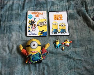 Lot Of Despicable Me DVDs, Toys And Plush Toy