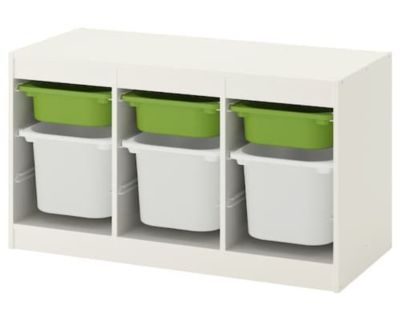 Ikea Trofast storage container in white with 6 bins