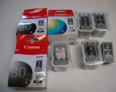8 GENUINE CANON 40 & 41 & 30 & 31 INK CARTRIDGES **EMPTY** !