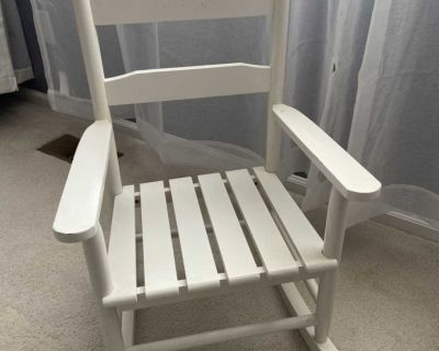 Kids white wood rocking chair